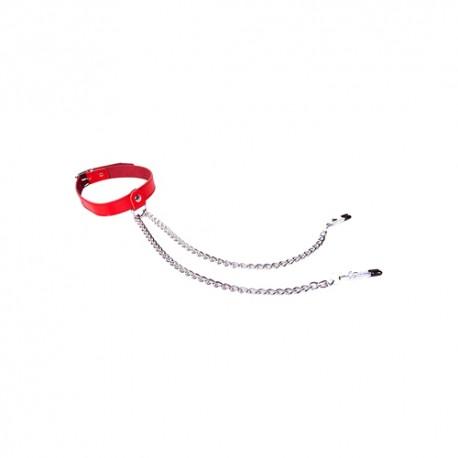 Halsband mit Nippelklemmen in Schwarz